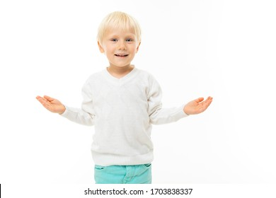 Little beautiful boy with blonde hair smiles, picture isolated on white background