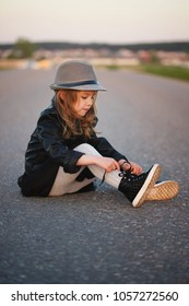 little beautiful girl modern fashionable look