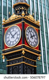 Little Ben, Victoria street, London, England. It is a cast iron miniature clock tower near Victoria station. It mimics the famous Big Ben. Reinstalled on 28 February 2016 after refurbishment.