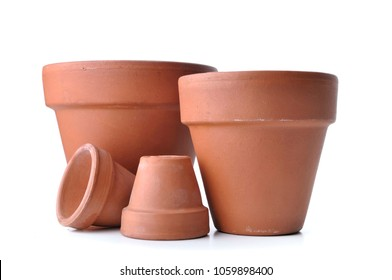 little and bid  terra cotta pots isolated on white background