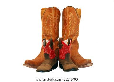 Little and big cowgirl boots