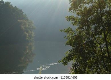 Little bit of fog over the calm river in the morning