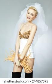 Little bit undressed bride