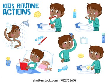 Little black boy and his daily routine - good morning and good night - white background - taking a shower, brushing teeth, washing face, combing hair, reading bedtime story...
