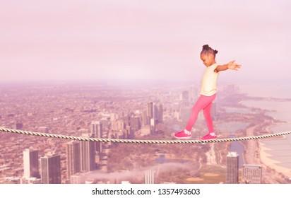Little black girl walking over city abyss