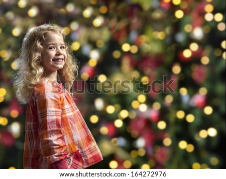 Little Blond Girl Front Christmas Tree Stock Photo Edit Now