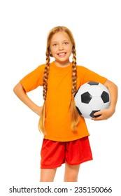 Little blond girl holding soccer ball isolated