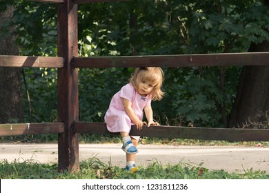 Little blond girl in pink dress climbing over the wooden fence in summer day on the forest background. Vocation in the village. Baby one year old walking in the forest. Soft focus.