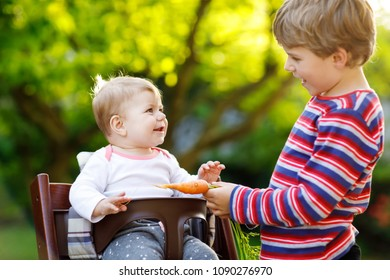 Little blond kid boy giving a carrot to baby sister. Happy siblings having healthy snack. Baby girl sitting in high chair
