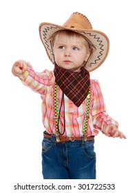 The little blonde girl in a cowboy outfit. The girl shows a finger to the side with a very serious face. A girl wearing a wide-brimmed cowboy hat cowboy handkerchief.-Isolated on white background