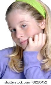 Little blonde girl portrait.