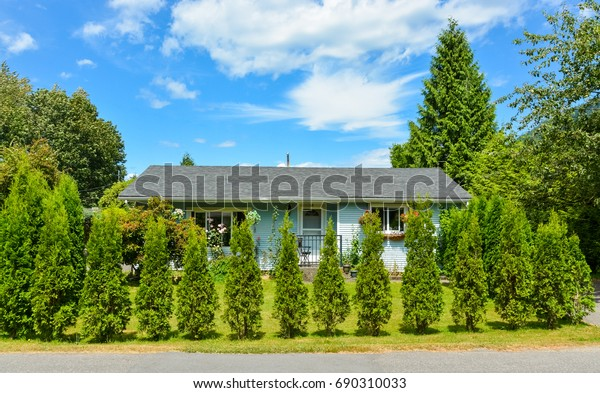 Little blue family house behind decorative trees growing into the hedge