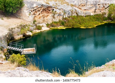 The Little Blue Lake is located between two dormant volcanoes, Mount Schank and Mount Gambier.  The lake has a diameter of about 40 metres, depth of about 47 metres, water temperature is 12 degrees.