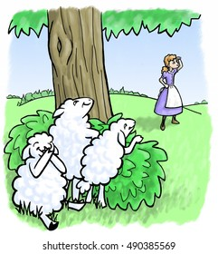 Little Bo Peep searches for her missing sheep who are hiding behind a tree.