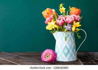 Little bouquet made from bright cheerful spring flowers