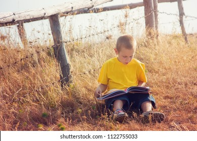 Little boy absorbed by his book he is reading outdoors