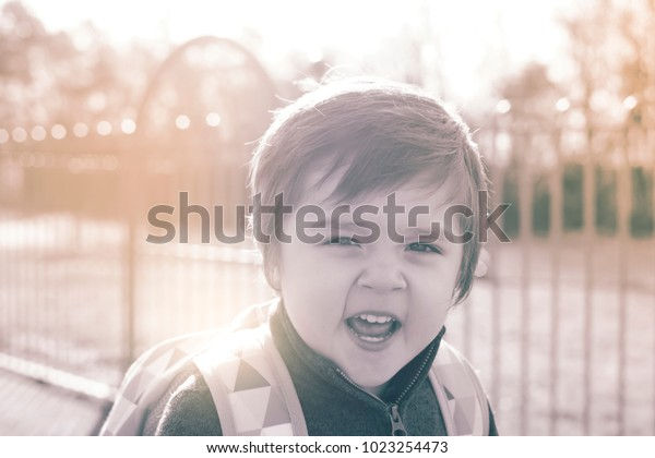 Little Boy Angry Face Retro Tone Stock Photo (Edit Now