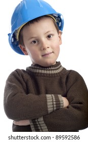 little boy, arms crossed, with protection helmet. Isolated on white background