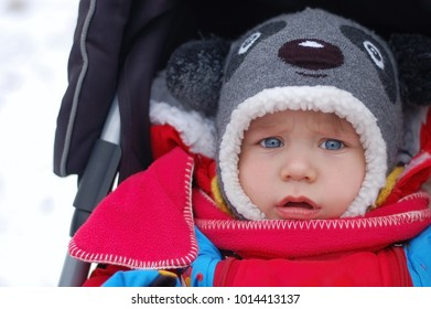 Little boy in a baby carriage for a walk in the winter. He is dressed in warm clothes and a warm hat in the form of a dog. He has a warm red scarf around his neck
