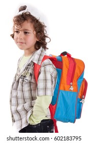 Little boy with backpack over white background