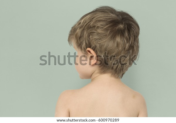 Little Boy Bare Chest Rear View Studio Portrait