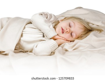little boy in the bed on white background