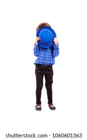 Little boy with blue hat cover his face isolated on white background