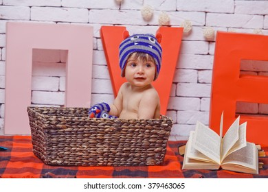 little boy with book and toy