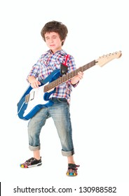 Little boy britpop style with electoguitar full body isolated on white