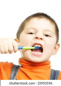 Little boy brushing teeth with frenzy photo over white