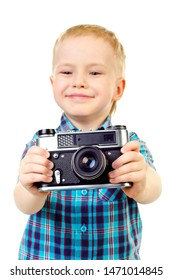 little boy with camera isolated on a white background