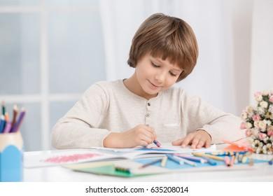 Little Boy Child Drawing Creativity Talent Concept