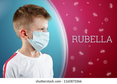 A little boy, a child in a medical mask on a red background with bacteria in a protective bladder. Rubella inscription. The concept of an epidemic, influenza, protection from disease, vaccination.