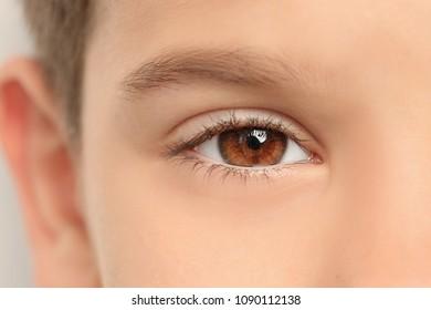Little boy, closeup of eye. Visiting ophthalmologist