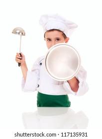 Little boy cook threaten with kitchen utensil isolated on white