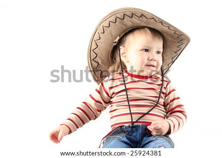 59f42913e13bf Little Boy Cowboy Hat Isolated On Stock Photo (Edit Now) 25924381 ...