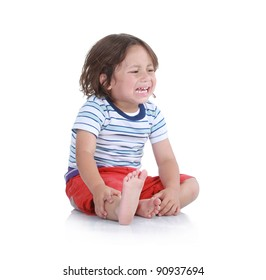 Little boy crying in isolated white background