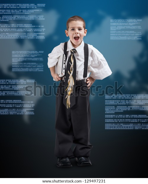 Little boy in daddy business suit holding virtual digital background