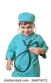 Little boy in doctor costume is posing while he's checking his own pulse to the camera. Isolated on white.