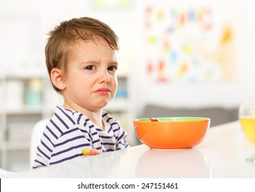 Little boy does not want to eat.