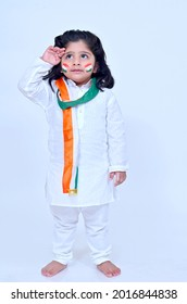 Little boy  doing salutation on the occasion of Independence day India celebrations