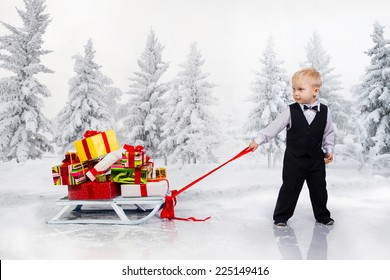 Little boy drags a huge heap of Christmas gifts. Collage.