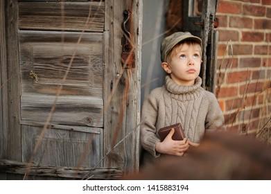 Little boy dreamer, discovering the secret. Concept of children's imagination