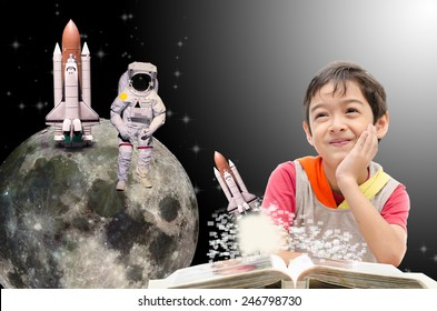 "Little boy dreaming  about his future out of space to the moon - ""Elements of this image furnished by NASA"""