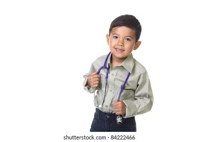 A little boy dresses up as a doctor in a concept image..