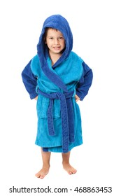 Little boy dressing blue bathrobe, smiling, isolated on white