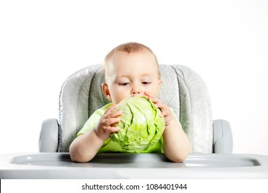Little boy eating cabbage sitting in a chair.