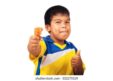 little boy eating fried chicken isolate background