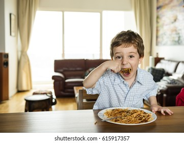 Little Boy Eating Spaghetti Pasta Breakfast Meal Food