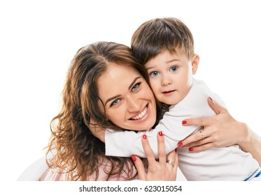 little Boy embracing happy mom